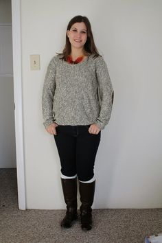 My Stitch Fix 12: Maureen Twisted Elbow Patch Sweater.