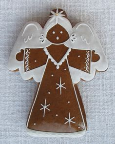 Angel gingerbread Angel Cookies, Xmas Cookies, Iced Cookies, Cupcake Cookies, Christmas Cooking, Christmas Desserts, Christmas Treats, Christmas Gingerbread, Gingerbread Cookies