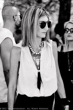 statement necklace + simple blouse.