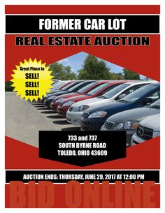 Online Real Estate Auction of Former Car Lot at 733 and 737 South Byrne Road, Toledo, Ohio 43609 - Bidding Ends: Thursday, June 29, 2017 at 12:00 pm. Former car lot, zoned 10CR, land use is 454:C-Auto Car Sales and Services. 2 lots plus office and garage. View the auction brochure, photos, and bid now online. Pamela Rose Auction Company, LLC.
