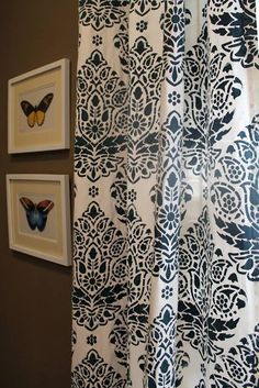 The Indian Paisley Damask Stencil brightens up curtains in a lovely navy & white combo by Happy Habitat by Karrie Kaneda! http://www.happyhabitat.net/2013/06/my-stenciled-curtains.html