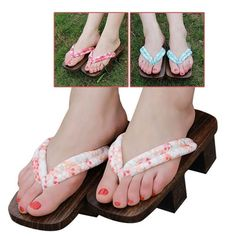 66a3f5de84e5 Latest Women Geta Bidentate Floral Flip Flops Heeled Shoes Clogs Travel  Slippers