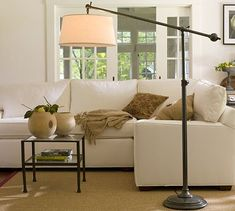 Chelsea Sectional Floor Lamp #potterybarn - I bet I can figure out how to make this! I love the drum shade on the industrial base.