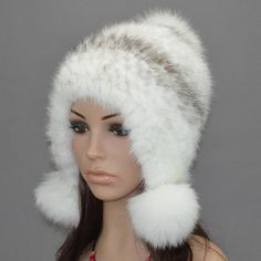 H922-eaflap hat with natural mink /fox /raccoon fur autumn Winter warm ear protector cap knitted  Women  mink beanie