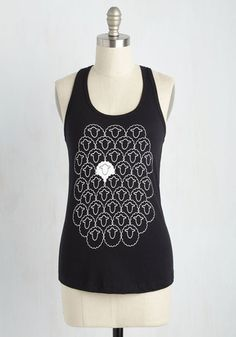 Fearless Individu-Wool Top - Black, Solid, Casual, Critters, Sleeveless, Knit, Good, Scoop, Mid-length, White, Racerback