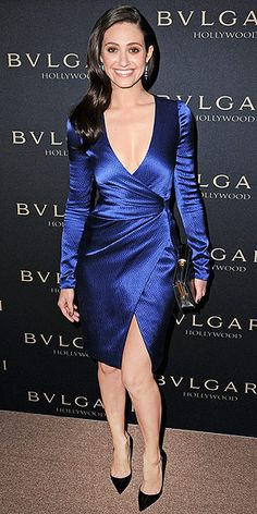 Emmy at the West Hollywood Bulgari event in a plunging, high-slit wrap dress in a gorgeous shade of blue, plus shiny side-swept waves.