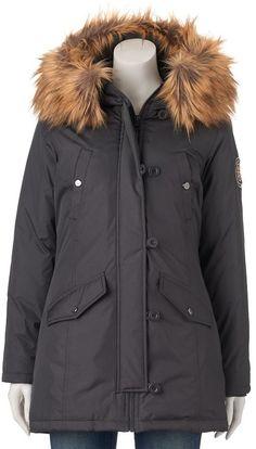 Juniors' Madden Girl Faux-Fur Hooded Midi Jacket