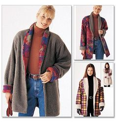 Pictures of  Shawl Collar Jacket Sewing Pattern Easy Reversible McCall's