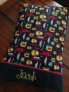 I wound get this for my brother brad Blackhawks Hockey, Hockey Teams, Chicago Blackhawks, Hockey Stuff, Hockey Baby, Ice Hockey, Hockey Bedroom, Personalized Pillow Cases, Machine Embroidery