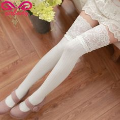 GIRLADY Sexy Lace Top Women Stockings Female White High Knee Stockings For Winter Autumn Compression Knitted Cotton Stockings