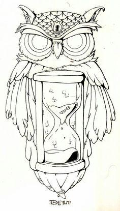Tatted up. Tattoo. Nice Tattoo. Owl. Hourglass.
