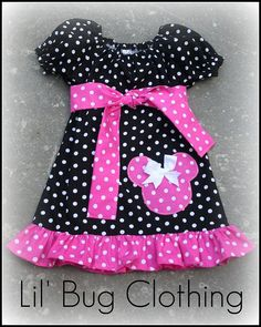 Custom Boutique Clothing Black and Pink White Dot Minnie Mouse Peasant Dress. $39.99, via Etsy.
