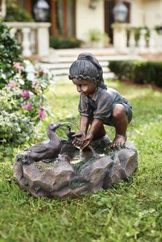 Remember the days of youthful vigor with this sweet fountain of a child playing with ducks. Water Wall Fountain, Garden Water Fountains, Sculpture Art, Garden Sculpture, Indoor Waterfall, Outdoor Furniture Plans, In Natura, Art Van, Garden Statues