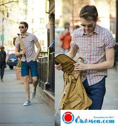 Cá tính với combo đồ đi biển dành cho nam với sơ mi ngắn tay và quần short kaki