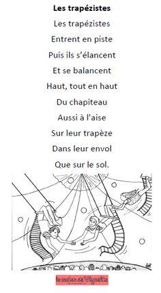 Poésie thème cirque trapézistes Decoration Cirque, Circus Party, Teaching French, Activities For Kids, Petite Section, Animation, Pinocchio, Education, Clowns