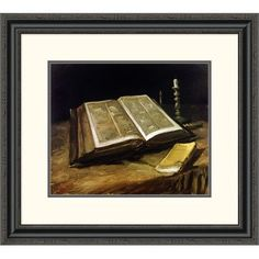 "Global Gallery 'The Bible: Still Life' by Vincent Van Gogh Framed Painting Print Size: 23.33"" H x 26"" W x 1.5"" D"