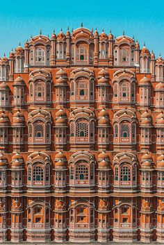 """Hawa Mahal also know as """"Palace of Winds"""" or """"Palace of the Breeze"""", is a palace in Jaipur, India. It was built in 1799 by Maharaja Sawai Pratap Singh, and designed by Lal Chand Ustad in the form of the crown of Krishna, the Hindu god Architecture Antique, India Architecture, Beautiful Architecture, Architecture Logo, Historical Architecture, Amazing India, India Travel, Jaipur Travel, India Trip"""