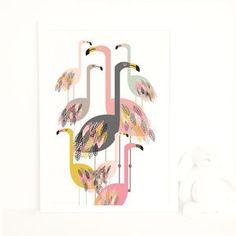 Flamingo Art Print - soft colour pop prints