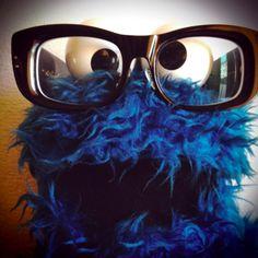 Cookie monster with geek glasses - Get this look @Secondlookeye - secondlookeye.com