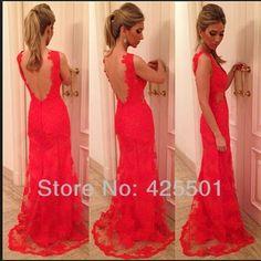 las mujeres 2014 vestidos sexy elegante de color rojo sin respaldo de fiesta fiesta vestidos bodycon largo
