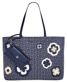 Tommy Hilfiger Novelty Logo Embellished Monogram Tote - All Handbags - Handbags & Accessories - Macy's