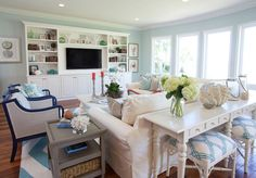 House of Turquoise: AGK Design Studio love the dark framed chairs Beach Cottage Style Living Room, Home Living Room, Living Room Colors, Beach House Living Room, House Interior, Luxury Interior Design, Cottage Living Rooms, Interior Design, Cottage Style Living Room