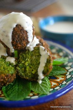 Emerald green falafel is so delicious in pita, on salad greens, or just as a snack! #GlutenFree