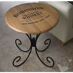 Authentic Barrel Head End Table With Personalized Whiskey Theme at Wine Enthusiast - $229.95