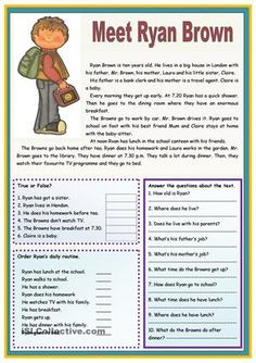 An elementary text about a boy's personal identification and routine.  - ESL worksheets