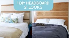 Renter-friendly DIY headboard: its on legs so it fits over any bed frame AND you dont need to drill holes into the wall or bed frame to install it!
