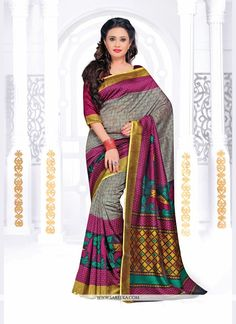 Elegance and honourable come together in this beautiful drape. Be an angel and create a smashing impact on everyone by wearing this multi colour silk printed saree. The ethnic print work on the attire...