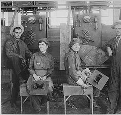 Women electric welders at Hog Island shipyard. These are the first women to be engaged in actual ship construction, in the United States., ca. 1918