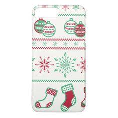 #Christmas Ornaments Snowflakes and Stockings iPhone 7 Plus Case - #Xmas #ChristmasEve Christmas Eve #Christmas #merry #xmas #family #kids #gifts #holidays #Santa