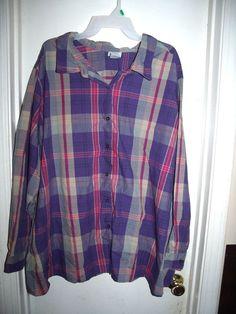 Only Necessities Purple Pink Plaid Button Front L/S Top Shirt 4X  #OnlyNecessities #ButtonDownShirt