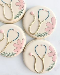 Iced Sugar Cookies, Royal Icing Cookies, Cake Cookies, Cookie Cake Decorations, Cookie Decorating, Nurse Cookies, Paint Cookies, Medical Dental, Sallys Baking Addiction