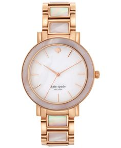 kate spade new york Women's Gramercy Grand Pink Mother-of-Pearl and Rose Gold-Tone Stainless Steel Bracelet watch 38mm 1YRU0396 - Women's Watches - Jewelry & Watches - Macy's