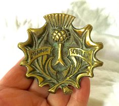 Vintage Brass dish SCOTLAND Souvenir Thistle dish Bonnie Scotland
