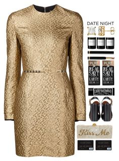 """""""*1738"""" by cutekawaiiandgoodlooking ❤ liked on Polyvore featuring Creatures of the Wind, Edie Parker, Forever New, Chloé, Gucci, Byredo, DateNight, gold, date and golden"""