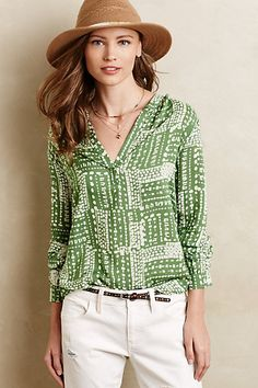 Deva Printed Henley #anthropologie. Love this color, I'm too good at neutrals, need more color in my wardrobe!