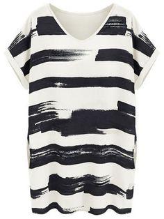 Black Short Sleeve Striped Loose Bodycon Dress - Sheinside.com