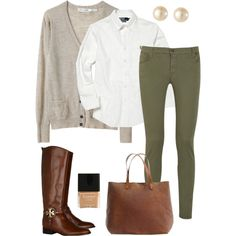 Green pants I have (walmart) use any white shirt, and use any color cardigan...easy outfit! @Maddison Conforti Conforti Conforti Conforti Price