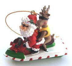 Christmas Ornament Santa Riding a Jet Ski with a Reindeer
