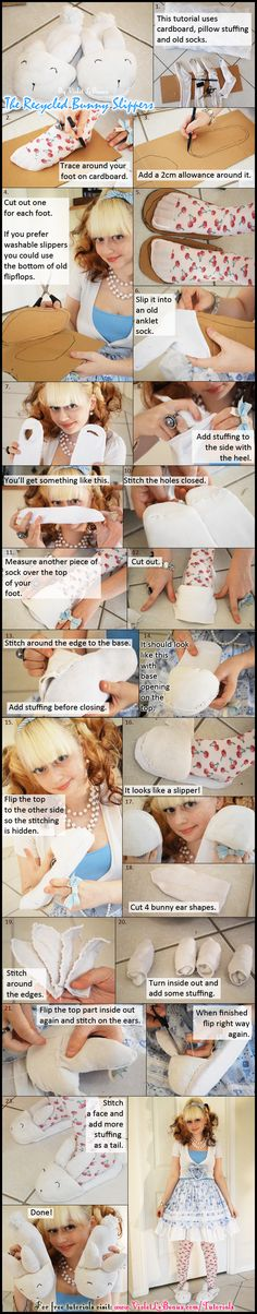Craft Pattern Downloads »   Free Recycled Bunny Slippers Tutorial Pattern Download