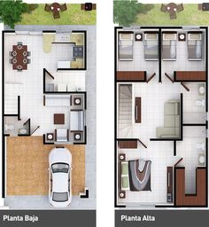 Perfect for my dream home. only few enhancement for gallery. Dream House Plans, Modern House Plans, Small House Plans, House Floor Plans, Plantas Duplex, Narrow House, Sims House, Home Design Plans, House Layouts