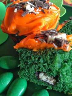 Turnips 2 Tangerines: Green Velvet Mint Cupcakes with Cream Cheese Frosting with a small piece of peppermint patty to each cupcake