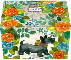 Scottie dog with orange, blue and gray flowers original watercolor art by @Violet Cottage - $14 for ten cards & ten envelopes - Small business card sized greeting cards  http://www.violetcottage.com/small-enclosure-cards/339-small-enclosure-card-scottie-dog-with-flowers.html