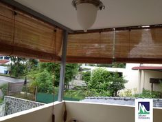 Creative And Inexpensive Useful Ideas: Blackout Blinds Lights patio blinds design.Patio Blinds Design vertical blinds with curtains.Blinds And Curtains Vintage. Balcony Blinds, Patio Blinds, Diy Blinds, House Blinds, Bamboo Blinds, Fabric Blinds, Blinds Ideas, Balcony Privacy, Privacy Blinds