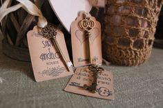 Segnaposto chiave antica con tag personalizzata set by OndaSuTela