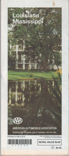 AAA Road Map of Louisiana & Mississippi, 1994, good shape by VintageNEJunk on Etsy
