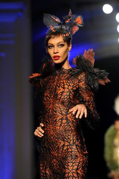 Model Joan Smalls walks the runway during Jean Paul Gaultier show as part of Paris Fashion Week Haute Couture Spring/Summer 2014 on January 22, 2014 in Paris, France.